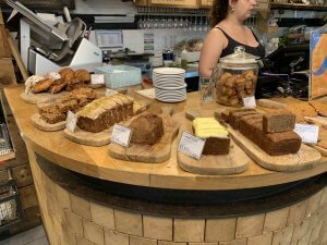 notes coffee cake display